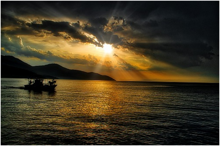 Fishing boat at sunset in Thasos island